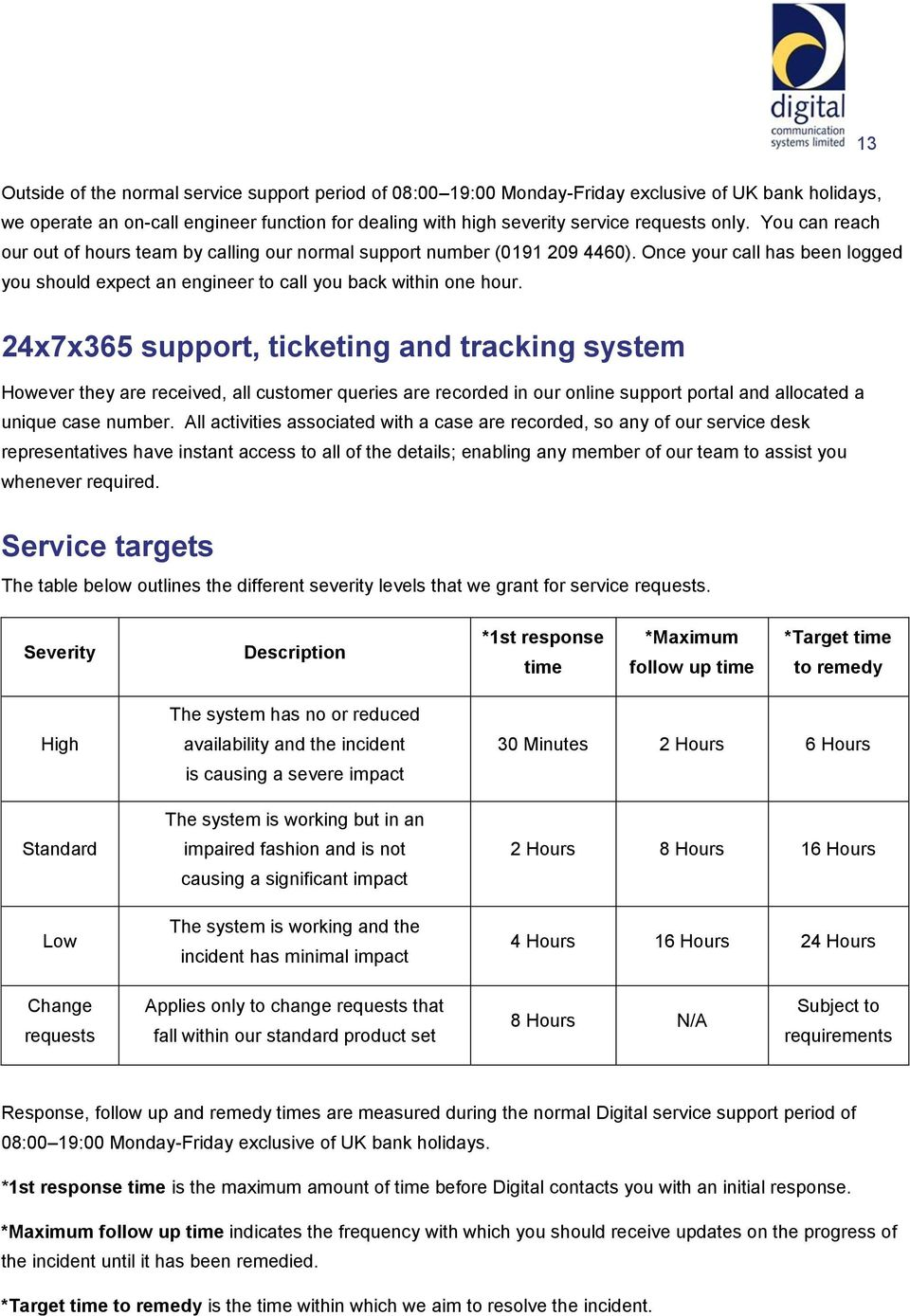 24x7x365 support, ticketing and tracking system However they are received, all customer queries are recorded in our online support portal and allocated a unique case number.