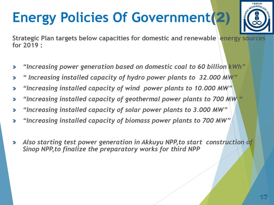 000 MW Increasing installed capacity of geothermal power plants to 700 MW Increasing installed capacity of solar power plants to 3.