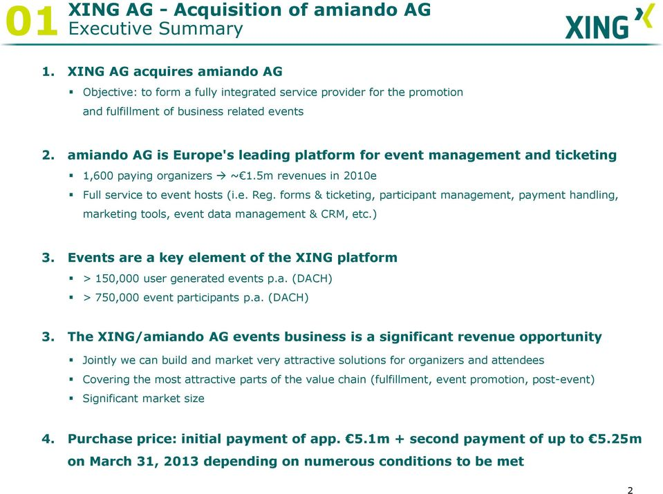 amiando AG is Europe's leading platform for event management and ticketing 1,600 paying organizers ~ 1.5m revenues in 2010e Full service to event hosts (i.e. Reg.
