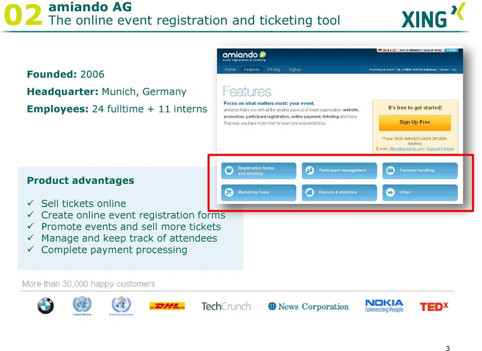 advantages Sell tickets online Create online event registration forms Promote