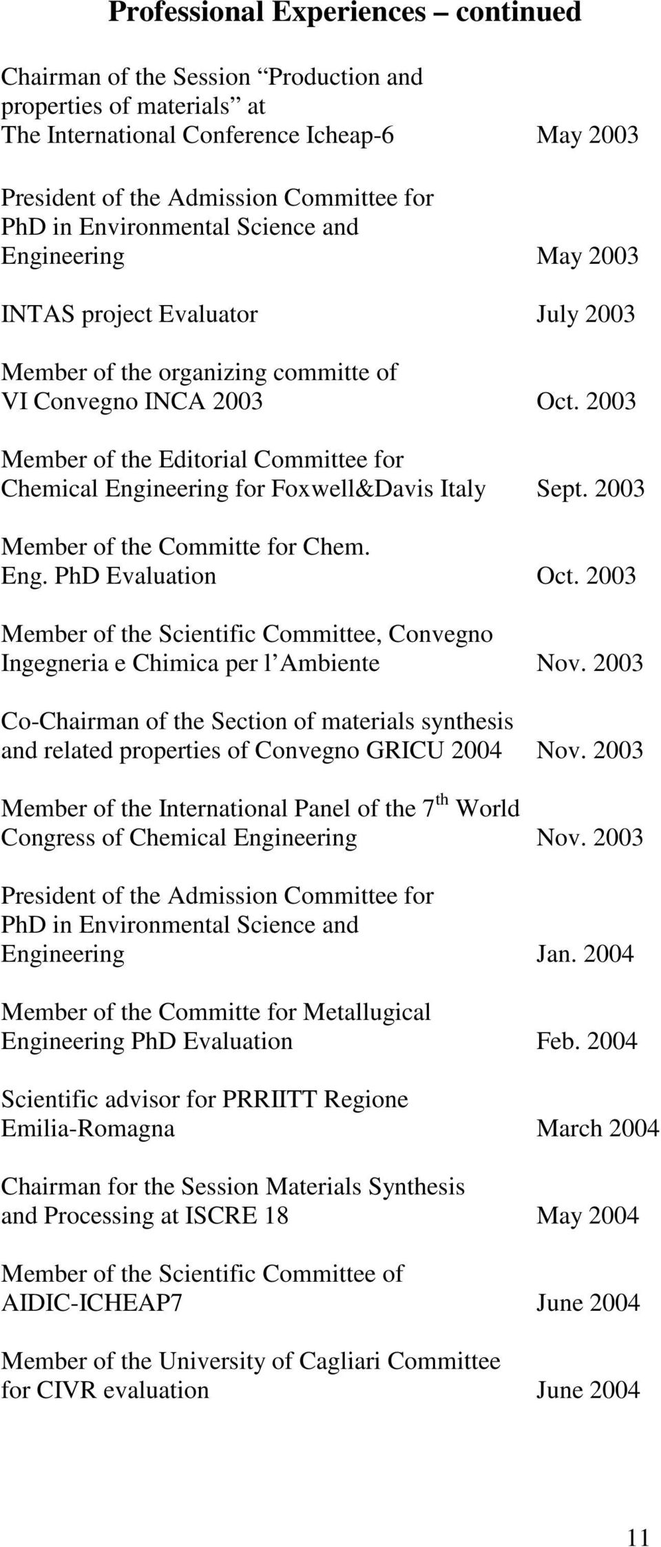 2003 Member of the Editorial Committee for Chemical Engineering for Foxwell&Davis Italy Sept. 2003 Member of the Committe for Chem. Eng. PhD Evaluation Oct.