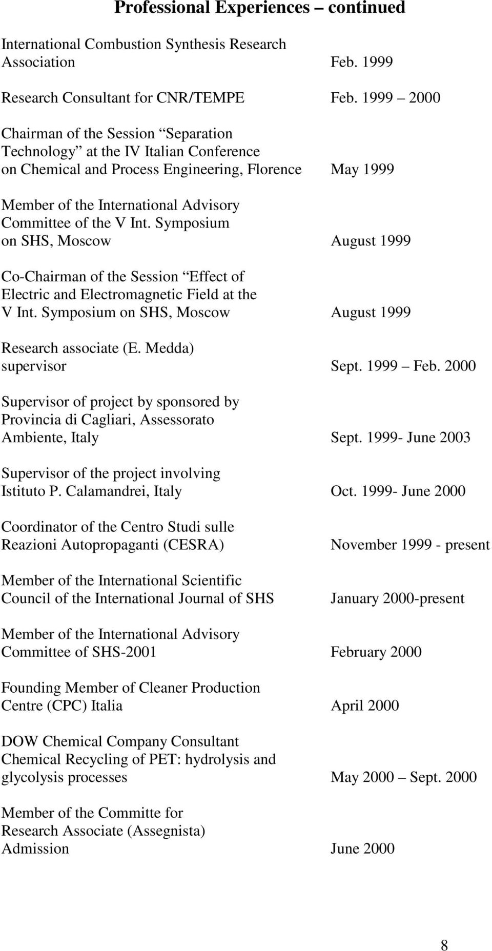 Symposium on SHS, Moscow August 1999 Co-Chairman of the Session Effect of Electric and Electromagnetic Field at the V Int. Symposium on SHS, Moscow August 1999 Research associate (E.