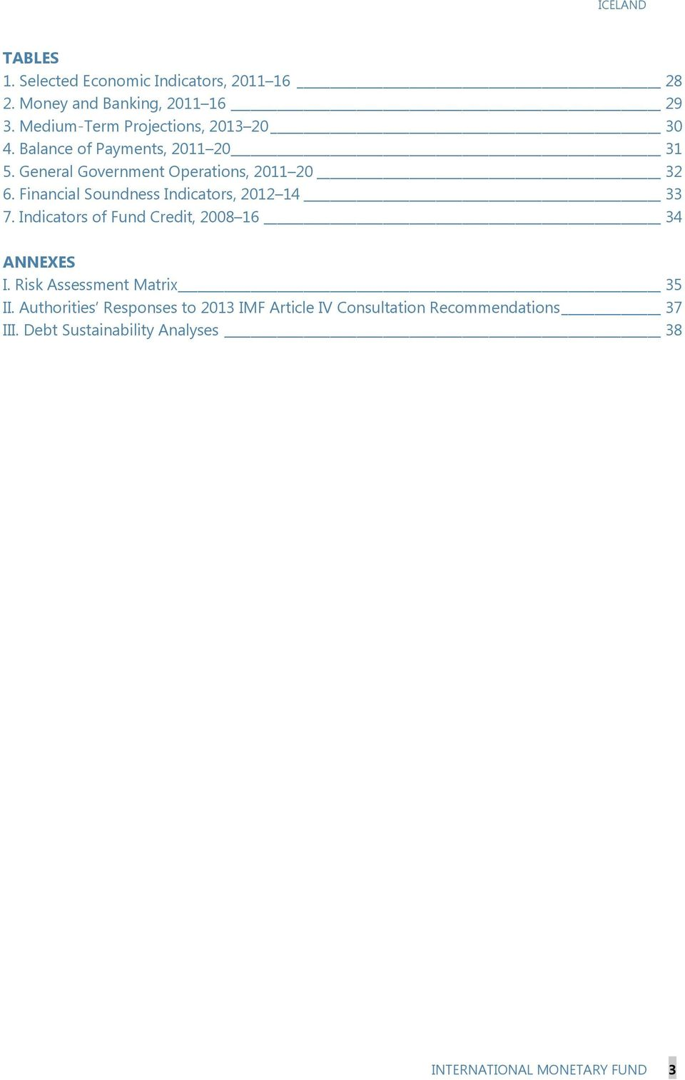 Financial Soundness Indicators, 212 14 33 7. Indicators of Fund Credit, 28 16 34 ANNEXES I.