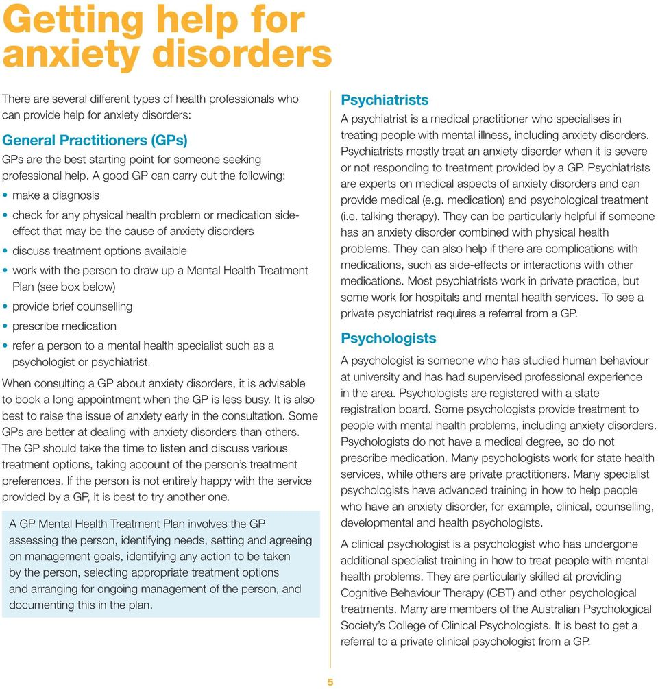 A good GP can carry out the following: make a diagnosis check for any physical health problem or medication sideeffect that may be the cause of anxiety disorders discuss treatment options available