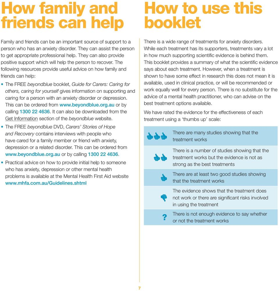 The following resources provide useful advice on how family and friends can help: The FREE beyondblue booklet, Guide for Carers: Caring for others, caring for yourself gives information on supporting