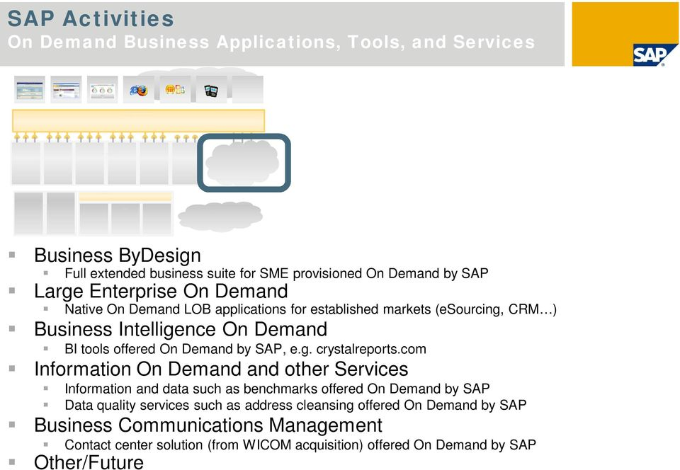com Information and other Information and data such as benchmarks offered by SAP Data quality services such as address