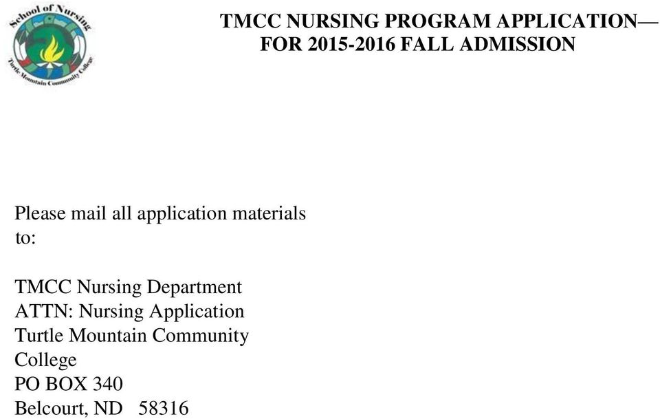 Nursing Application Turtle Mountain