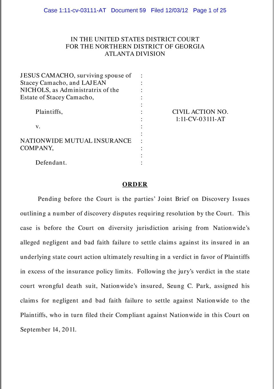 111-CV-03111-AT ORDER Pending before the Court is the parties Joint Brief on Discovery Issues outlining a number of discovery disputes requiring resolution by the Court.