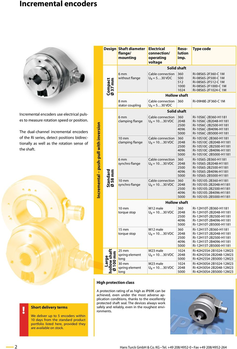 Incremental push-pull with inversion Design Shaft diameter flange/ mounting Compact Ø 37 mm Standard Ø 58 mm Large hollow shaft Ø 100 mm without flange 8 mm torque stop 15 mm torque stop 25 mm spring