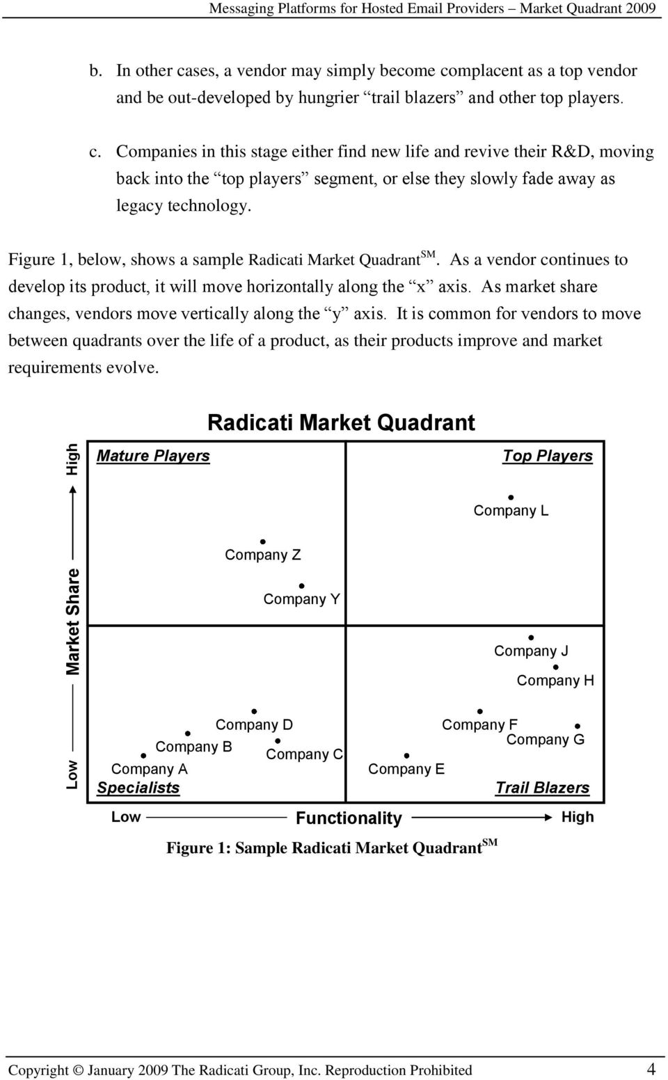 Figure 1, below, shows a sample Radicati Market Quadrant SM. As a vendor continues to develop its product, it will move horizontally along the x axis.
