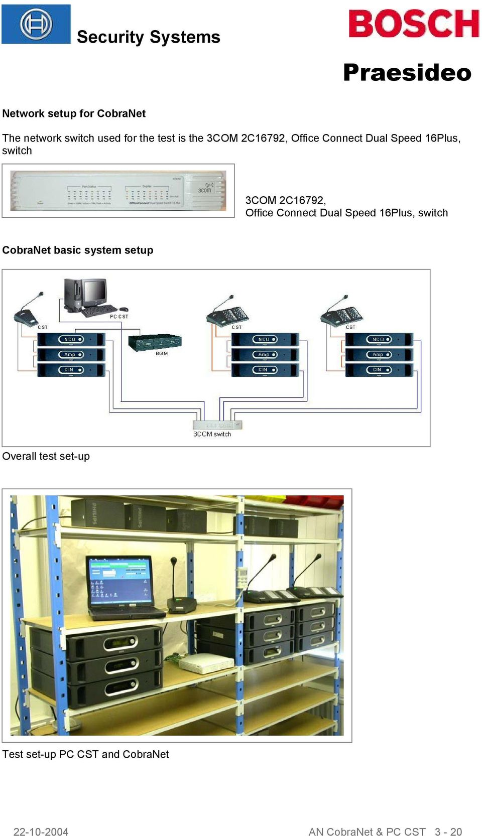 Office Connect Dual Speed 16Plus, switch CobraNet basic system setup