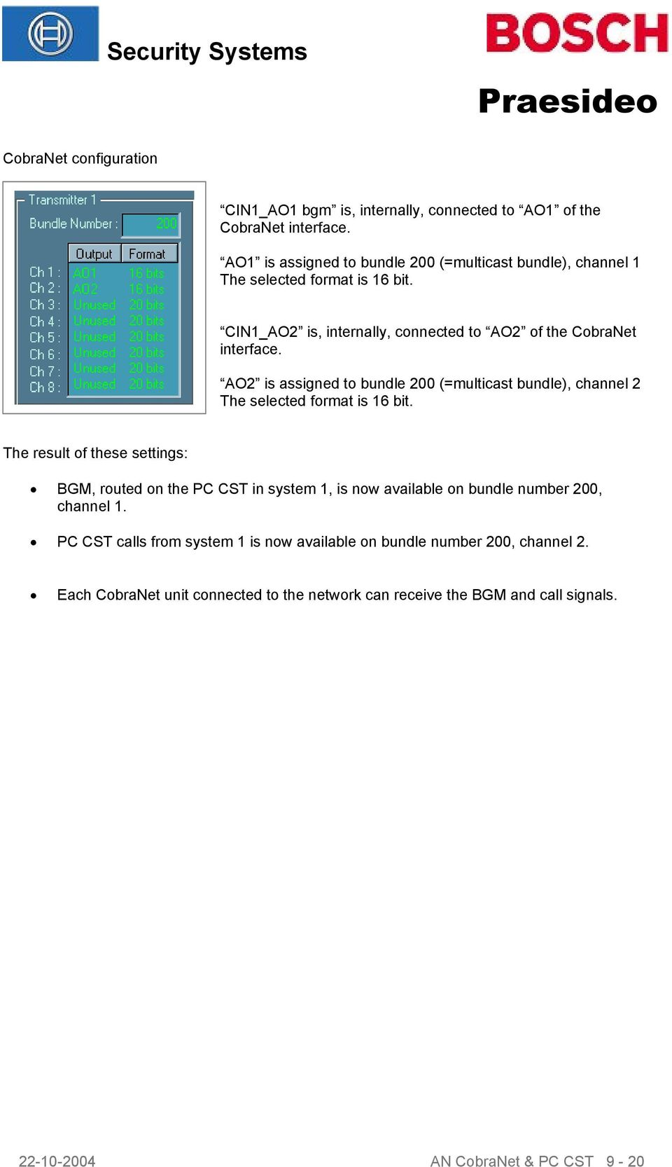 AO2 is assigned to bundle 200 (=multicast bundle), channel 2 The selected format is 16 bit.