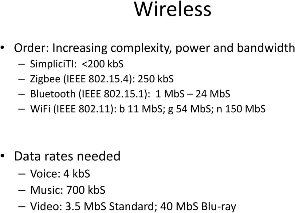 11): b 11 MbS; g 54 MbS; n 150 MbS Data rates needed Voice: 4 kbs Music:
