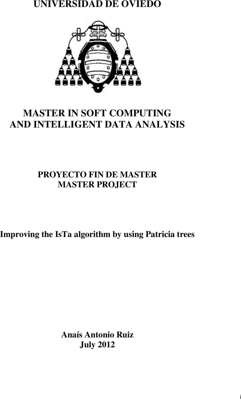 MASTER MASTER PROJECT Improving the IsTa