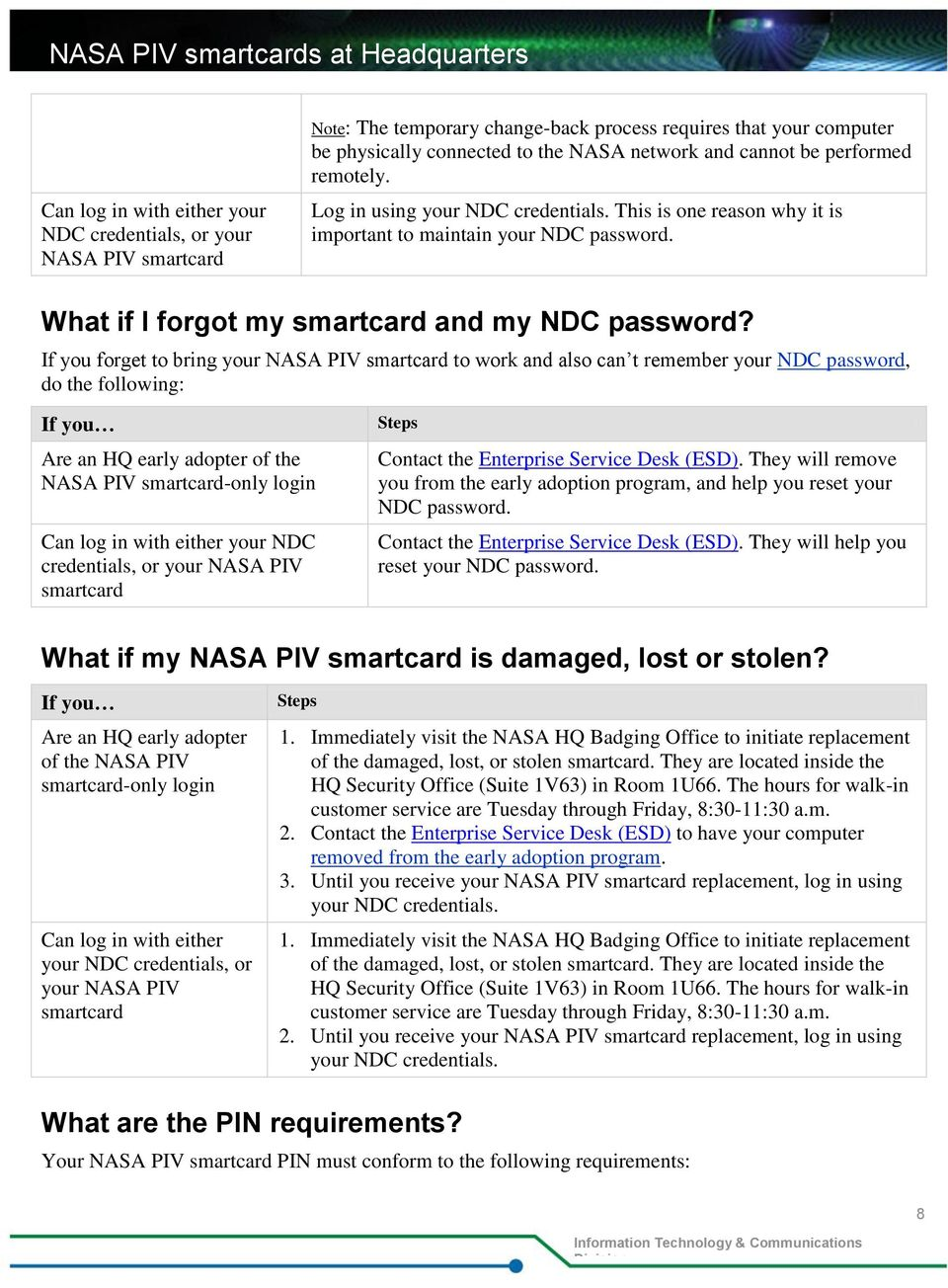 If you forget to bring your NASA PIV smartcard to work and also can t remember your NDC password, do the following: If you Are an HQ early adopter of the NASA PIV smartcard-only login Can log in with