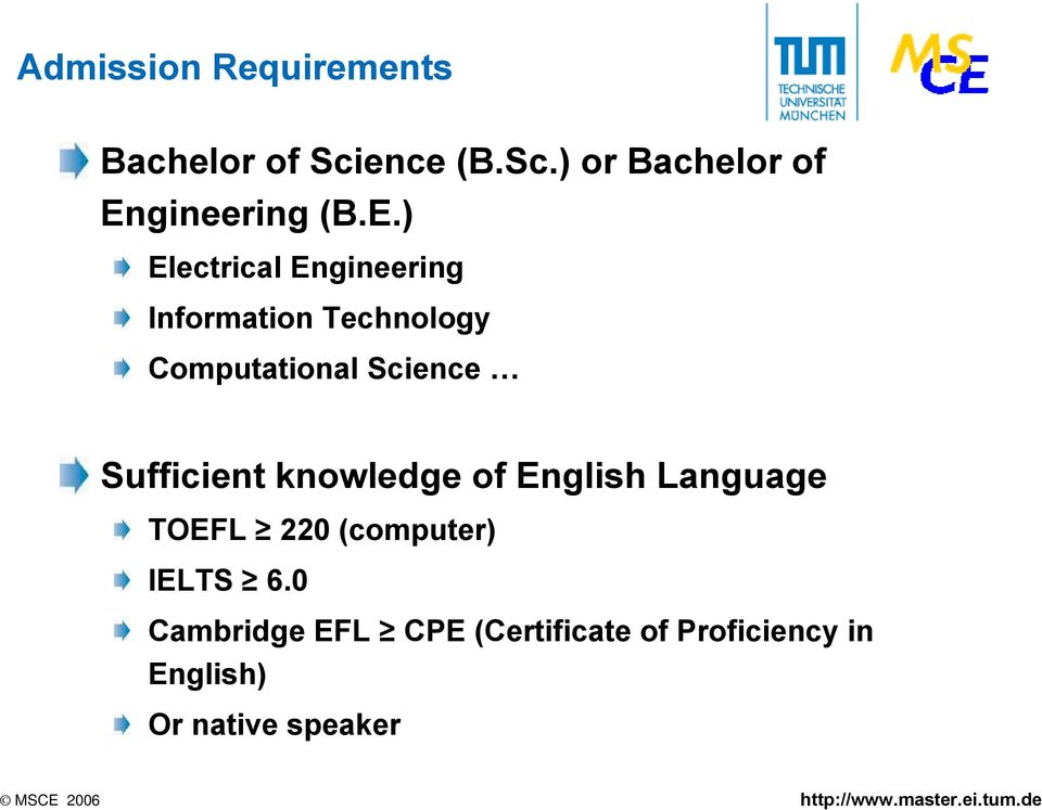 Sufficient knowledge of English Language TOEFL 220 (computer) IELTS 6.
