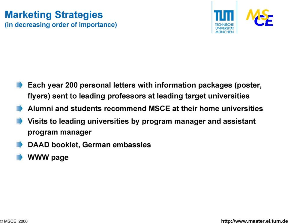 universities Alumni and students recommend MSCE at their home universities Visits to leading