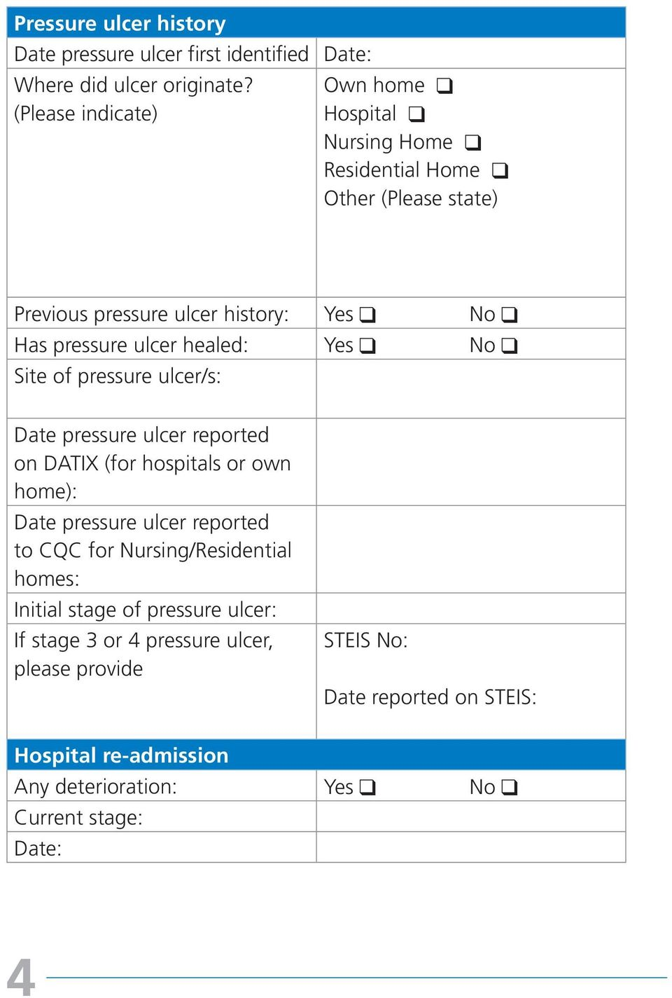 healed: Site of pressure ulcer/s: Date pressure ulcer reported on DATIX (for hospitals or own home): Date pressure ulcer reported to CQC for