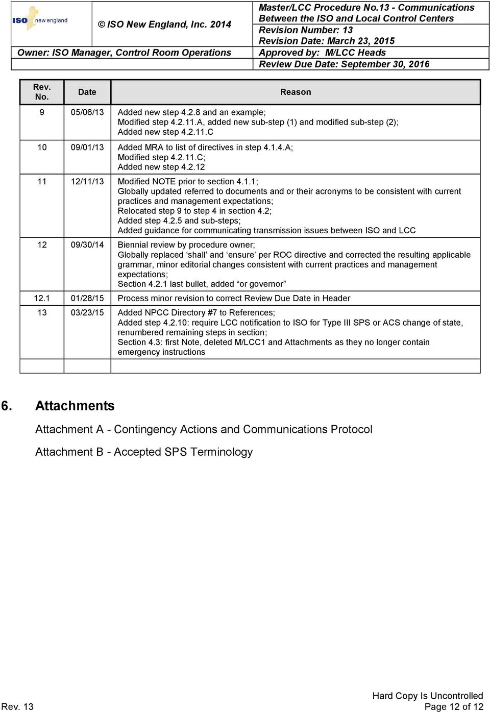 2; Added step 4.2.5 and sub-steps; Added guidance for communicating transmission issues between ISO and LCC 12 09/30/14 Biennial review by procedure owner; Globally replaced shall and ensure per ROC