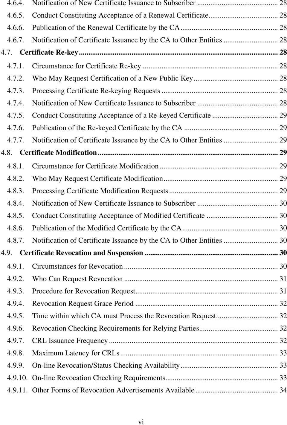 .. 28 4.7.3. Processing Certificate Re-keying Requests... 28 4.7.4. Notification of New Certificate Issuance to Subscriber... 28 4.7.5. Conduct Constituting Acceptance of a Re-keyed Certificate... 29 4.