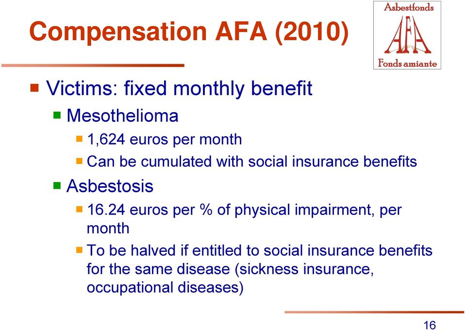 24 euros per % of physical impairment, per month To be halved if entitled to