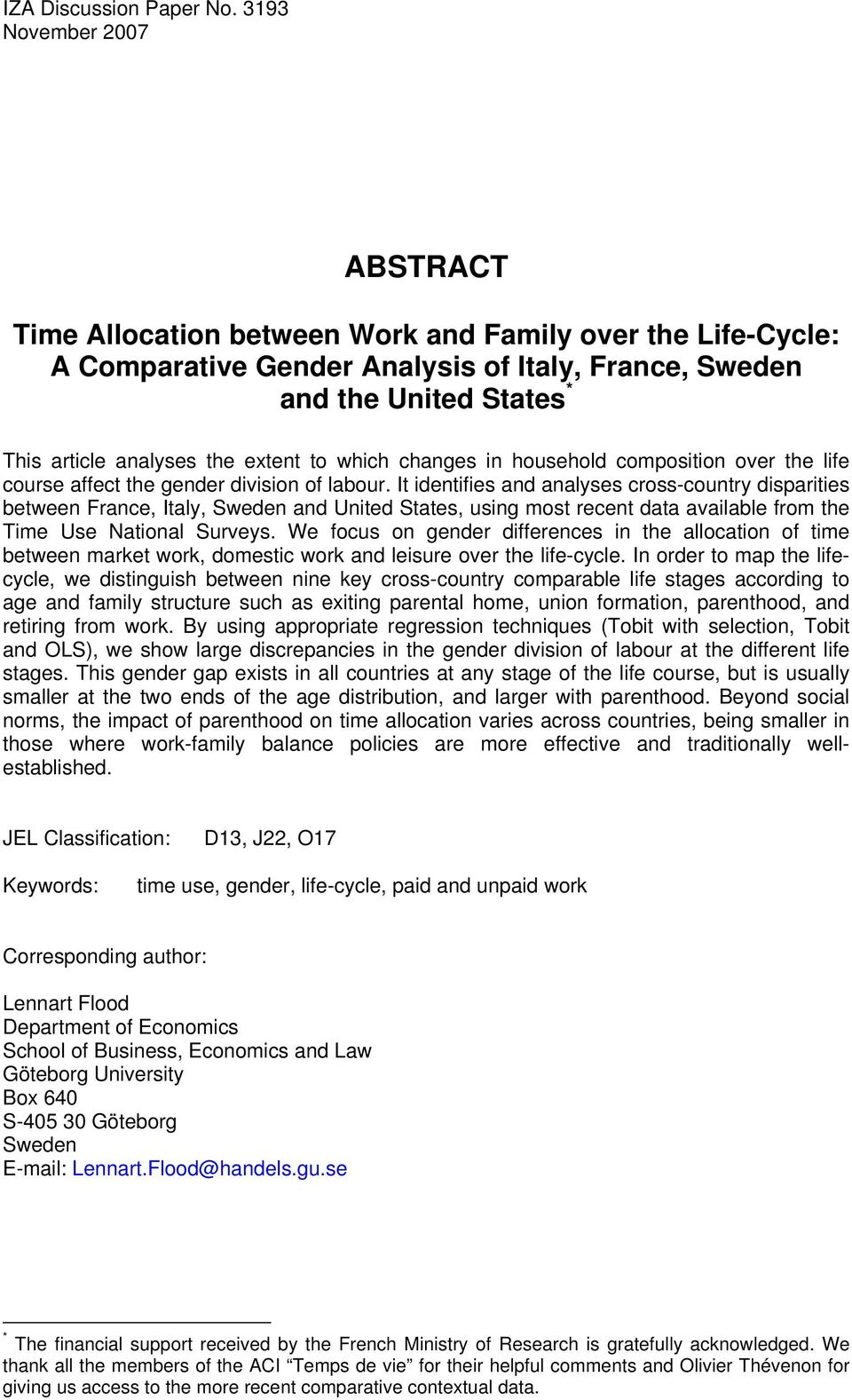 extent to which changes in household composition over the life course affect the gender division of labour.
