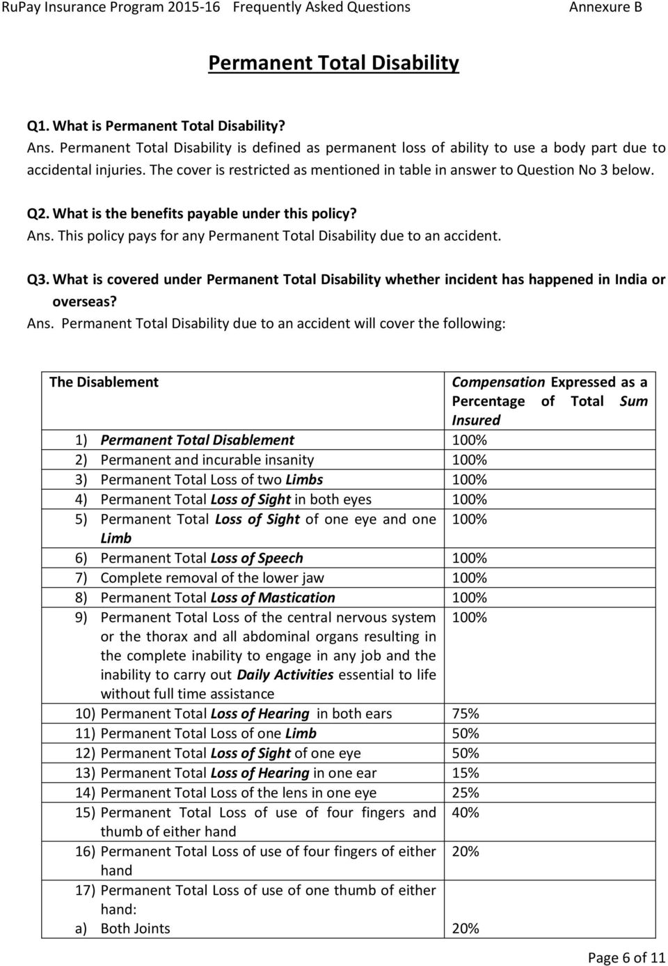 This policy pays for any Permanent Total Disability due to an accident. Q3. What is covered under Permanent Total Disability whether incident has happened in India or overseas? Ans.
