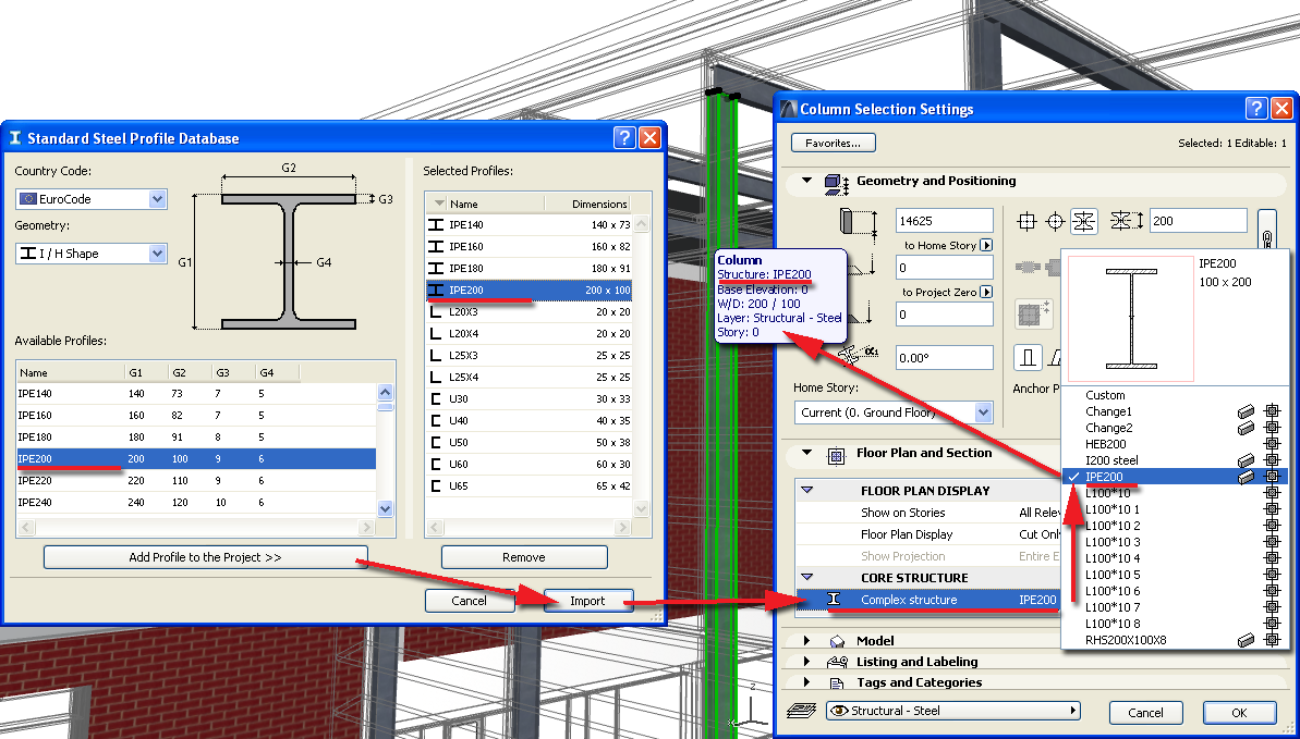 Standard Profiles If you exchange data with structural applications, using the IFC standard, it can be helpful to use standard elements as your steel profiled Columns or Beams.