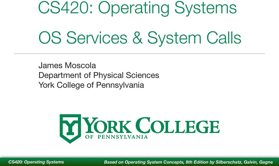 Department of Physical Sciences York College of Pennsylvania