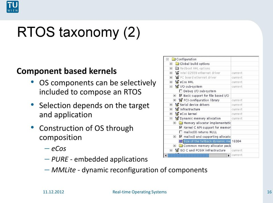 Construction of OS through composition ecos PURE - embedded applications