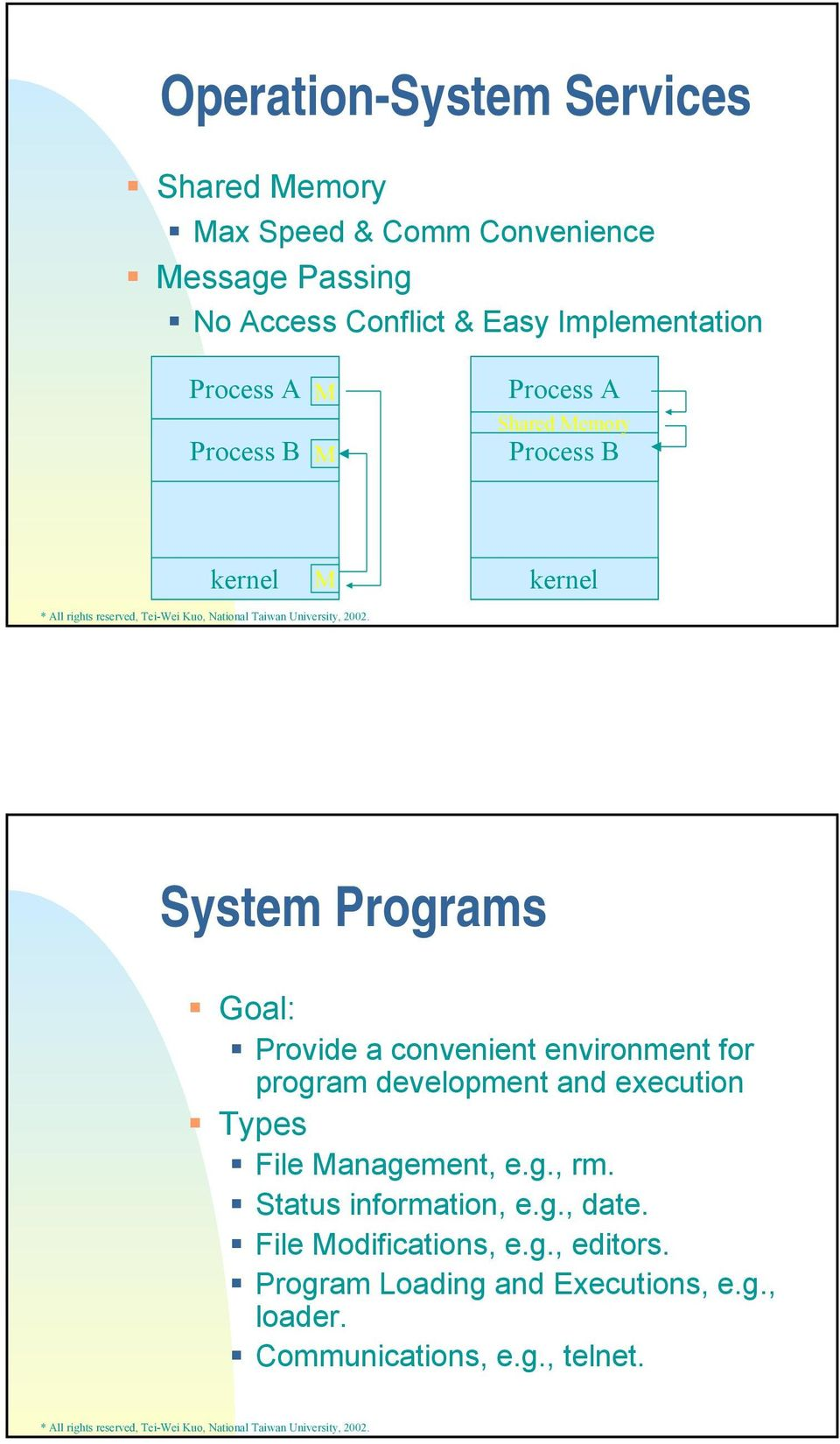 Provide a convenient environment for program development and execution Types File Management, e.g., rm.