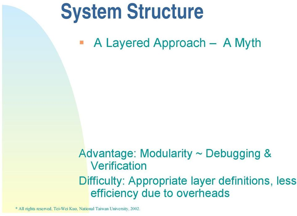 less efficiency due to overheads System Structure A Layer Definition Example: L5 L4 L3 L2 L1 L0