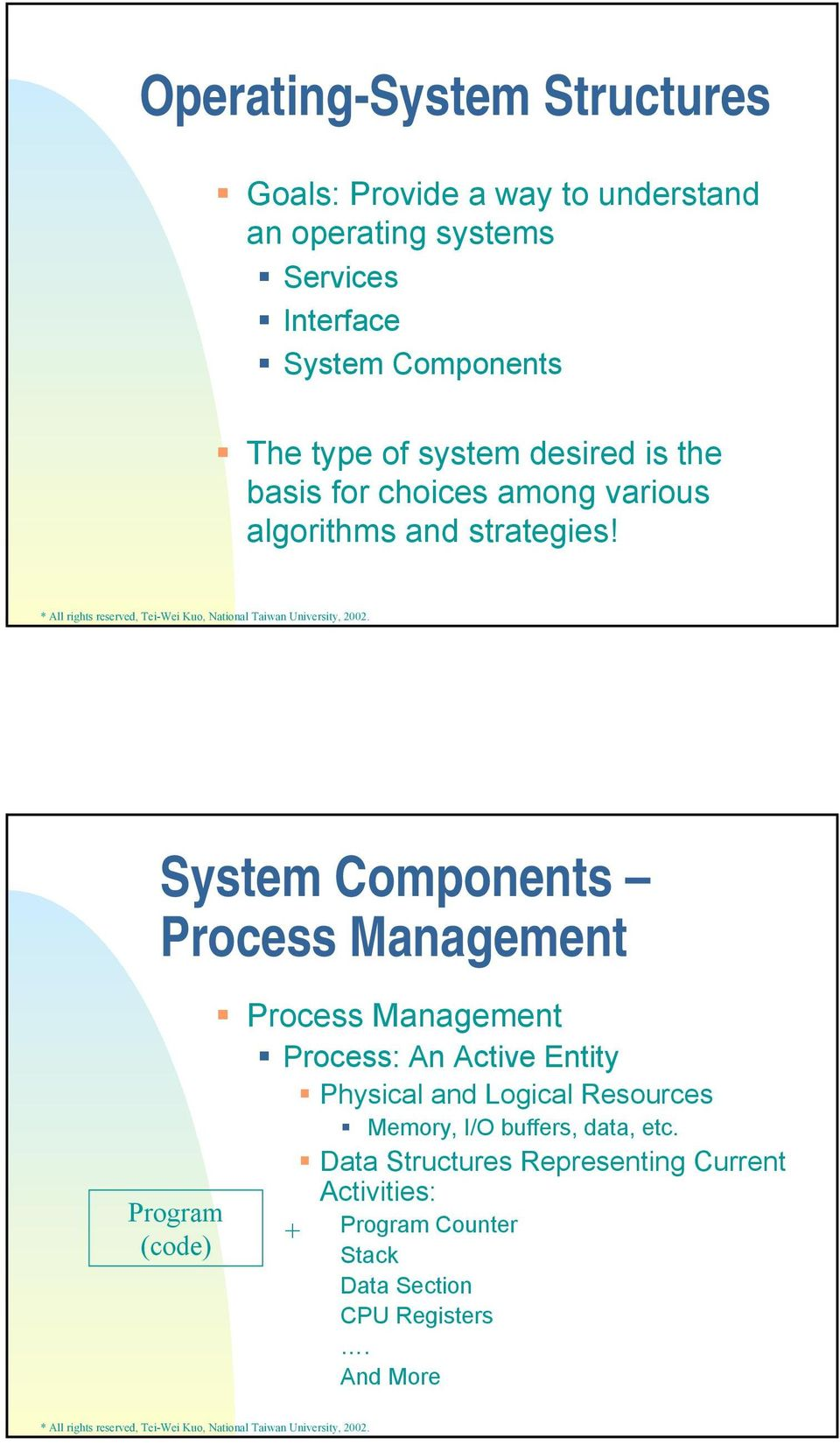 System Components Process Management Program (code) Process Management Process: An Active Entity Physical and Logical