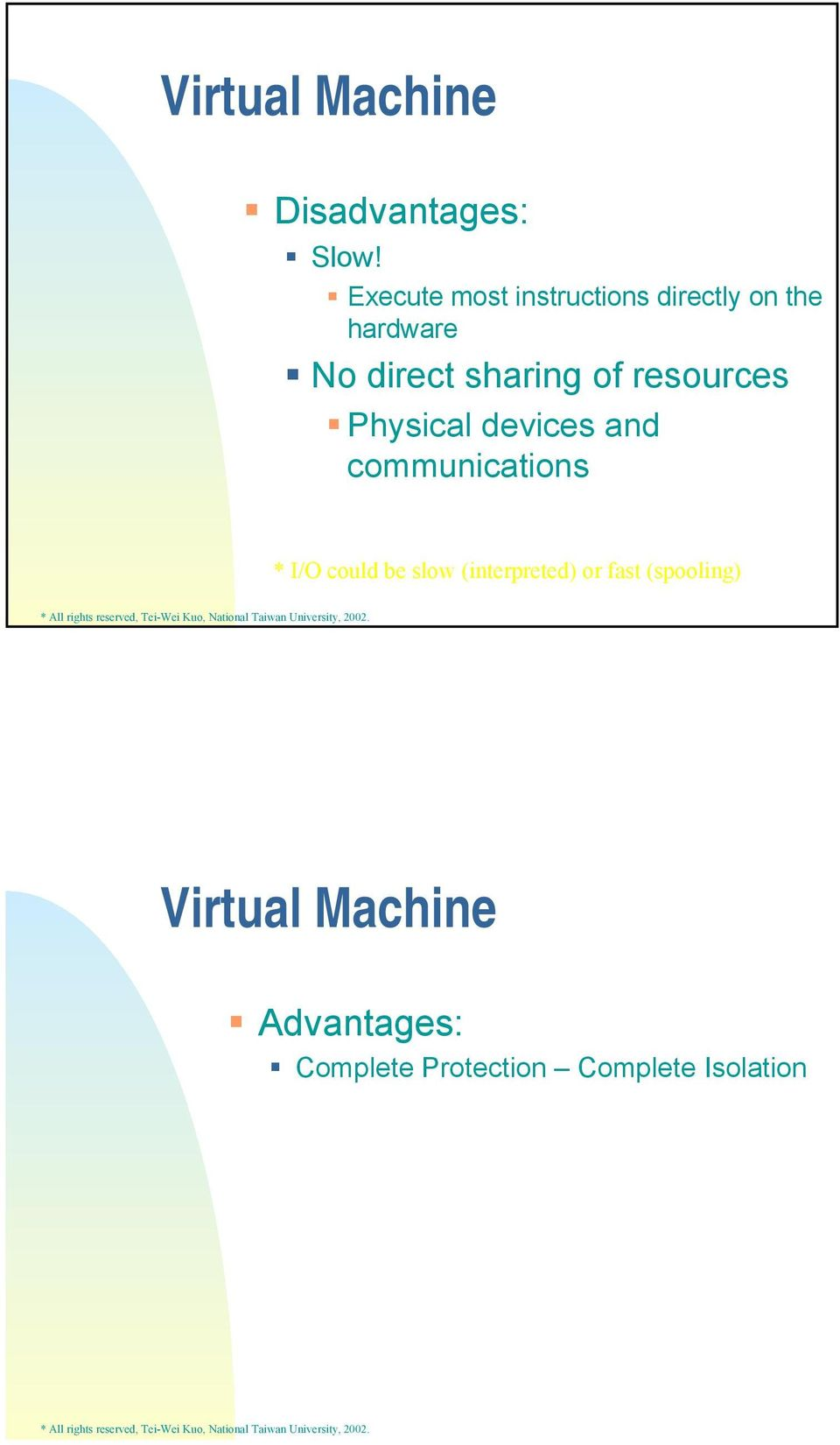 communications * I/O could be slow (interpreted) or fast (spooling) Virtual Machine Advantages: Complete