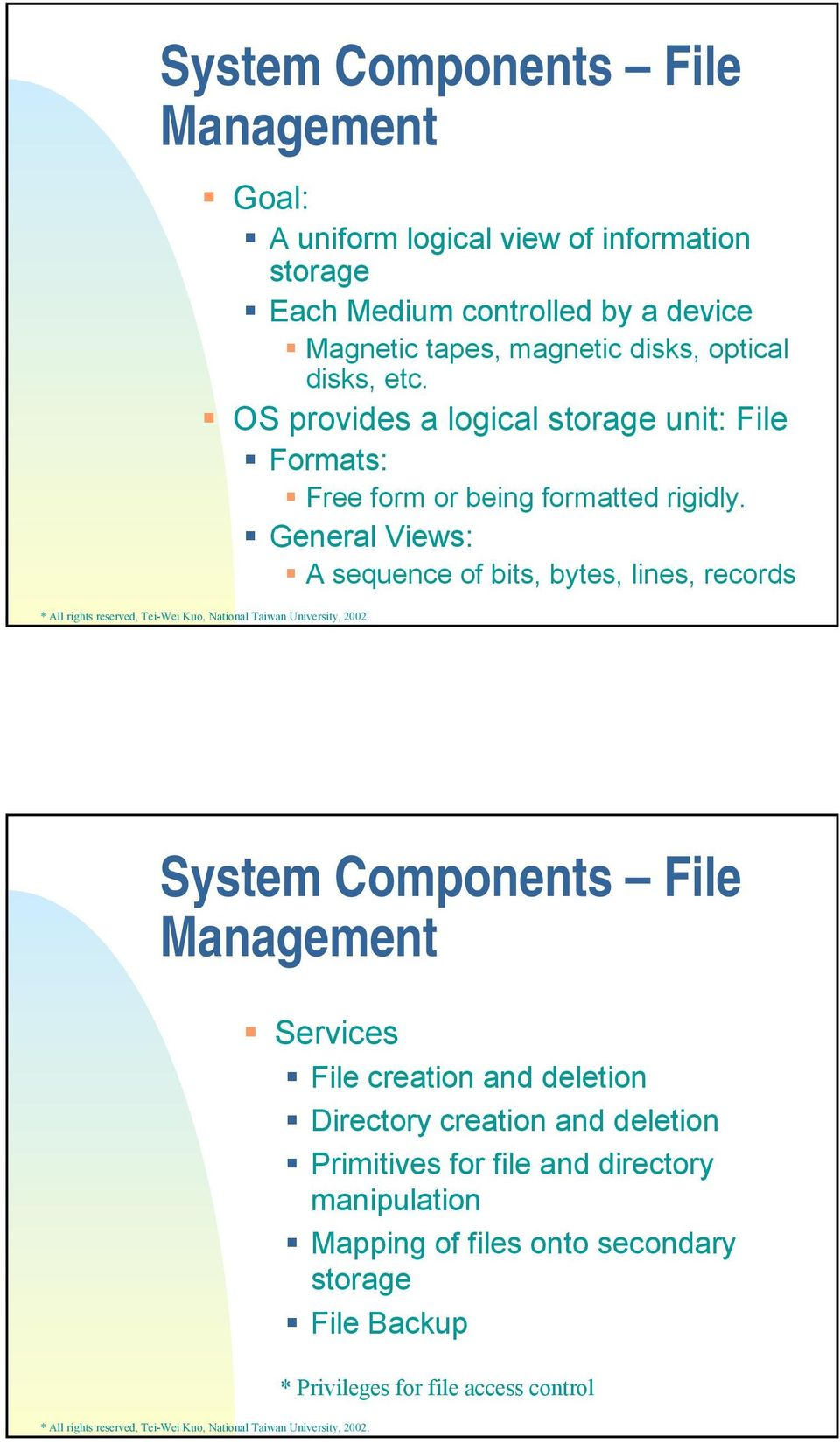 General Views: A sequence of bits, bytes, lines, records System Components File Management Services File creation and deletion Directory