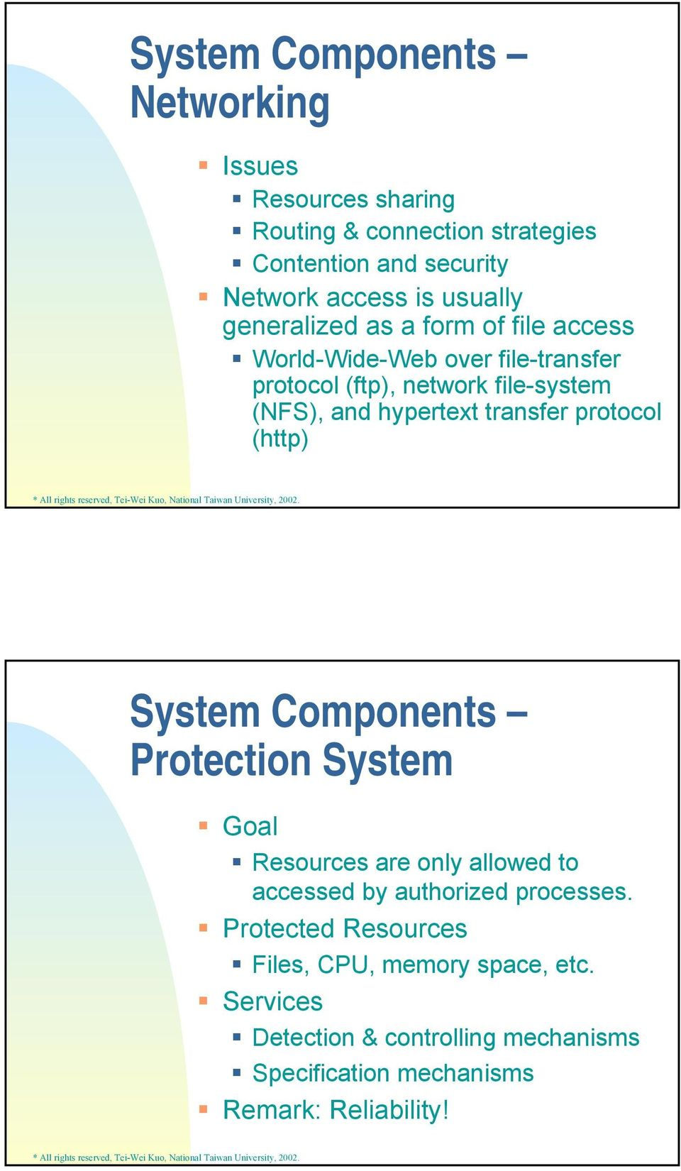 hypertext transfer protocol (http) System Components Protection System Goal Resources are only allowed to accessed by authorized