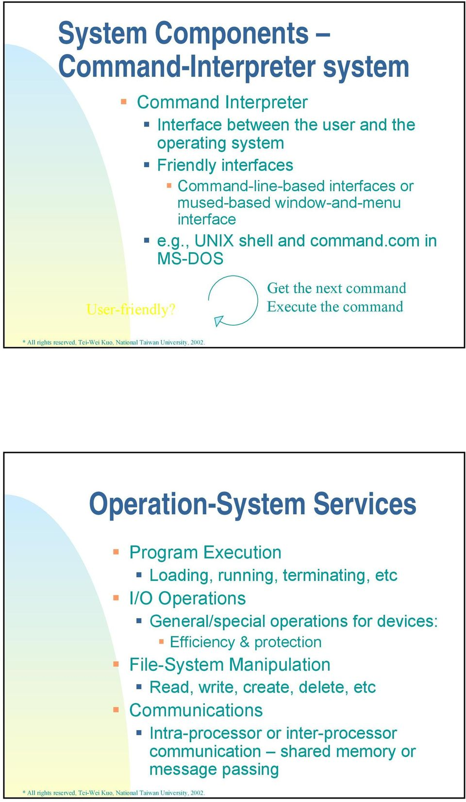 Get the next command Execute the command Operation-System Services Program Execution Loading, running, terminating, etc I/O Operations General/special