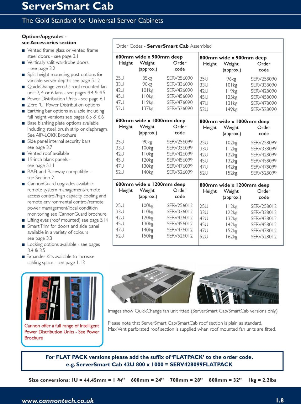 4 & 4.5 Power Distribution Units - see page 6.1 Zero 'U' Power Distribution options Earthing bar options available including full height versions see pages 6.5 & 6.