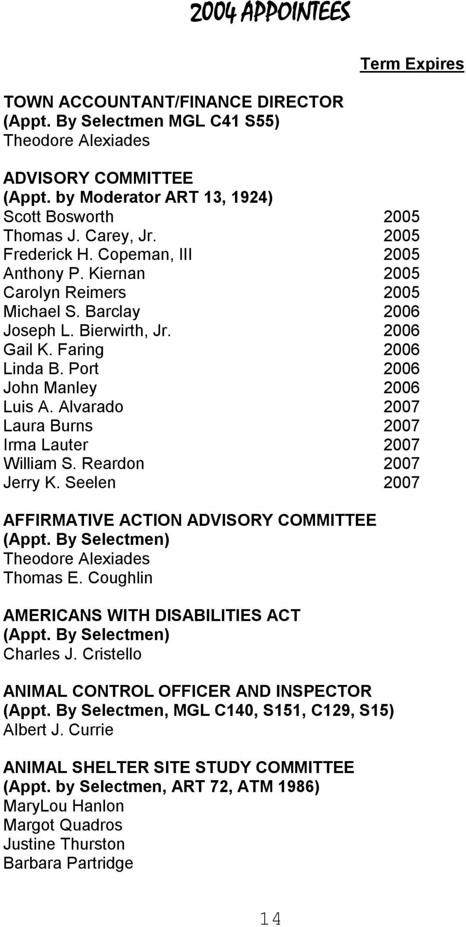 Port 2006 John Manley 2006 Luis A. Alvarado 2007 Laura Burns 2007 Irma Lauter 2007 William S. Reardon 2007 Jerry K. Seelen 2007 AFFIRMATIVE ACTION ADVISORY COMMITTEE (Appt.
