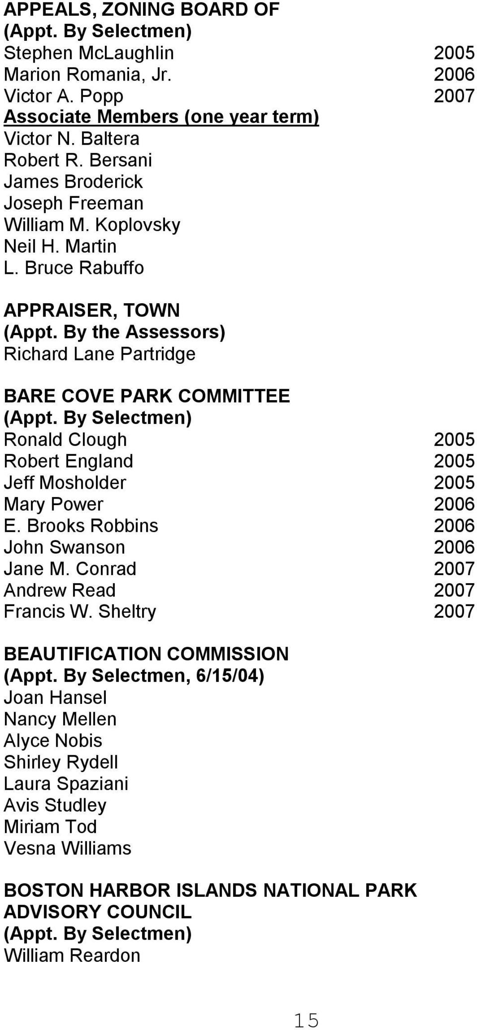 By Selectmen) Ronald Clough 2005 Robert England 2005 Jeff Mosholder 2005 Mary Power 2006 E. Brooks Robbins 2006 John Swanson 2006 Jane M. Conrad 2007 Andrew Read 2007 Francis W.