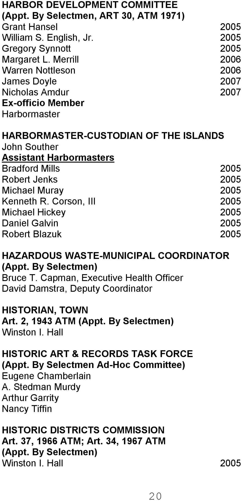 Robert Jenks 2005 Michael Muray 2005 Kenneth R. Corson, III 2005 Michael Hickey 2005 Daniel Galvin 2005 Robert Blazuk 2005 HAZARDOUS WASTE MUNICIPAL COORDINATOR (Appt. By Selectmen) Bruce T.