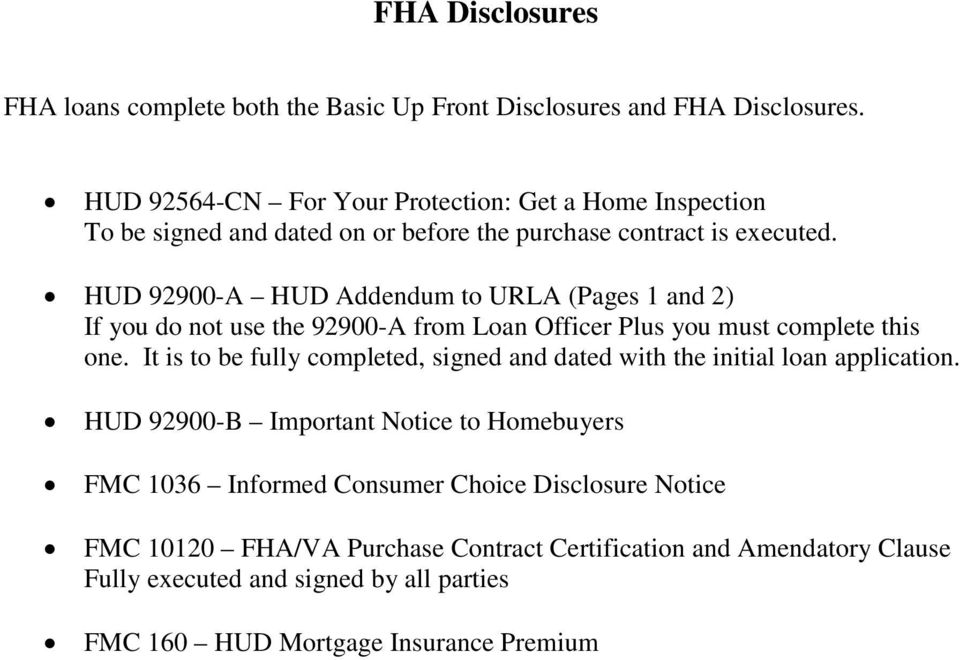 Fha Disclosures Fha Loans Complete Both The Basic Up Front