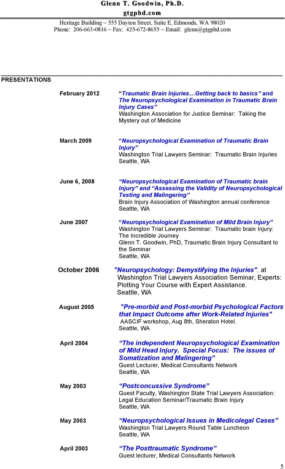 April 2004 May 2003 May 2003 April 2003 Neuropsychological Examination of Traumatic brain and Assessing the Validity of Neuropsychological Testing and Malingering Brain Injury Association of