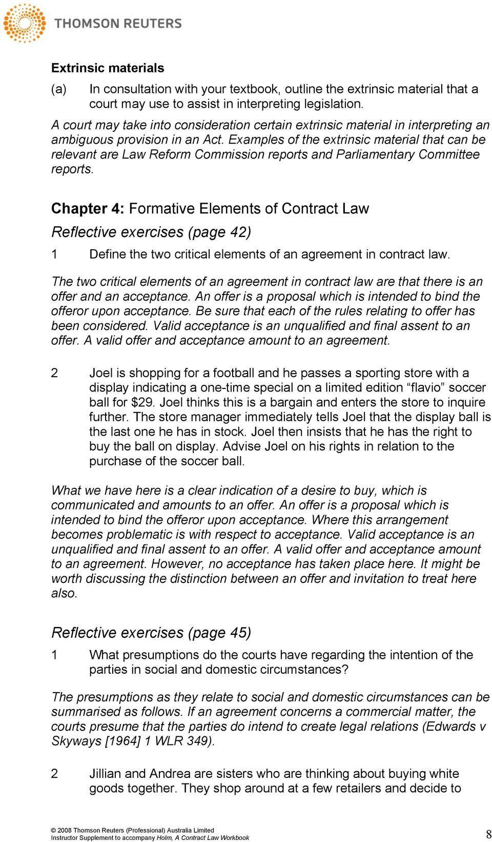 Law on Reflective Elements