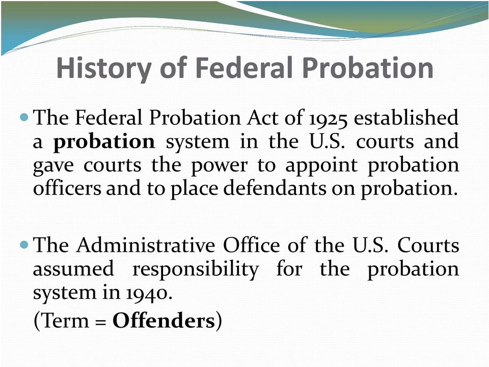 courts and gave courts the power to appoint probation officers and to place