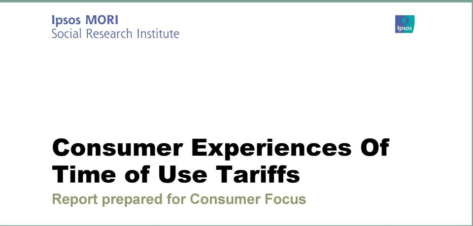of Use Tariffs