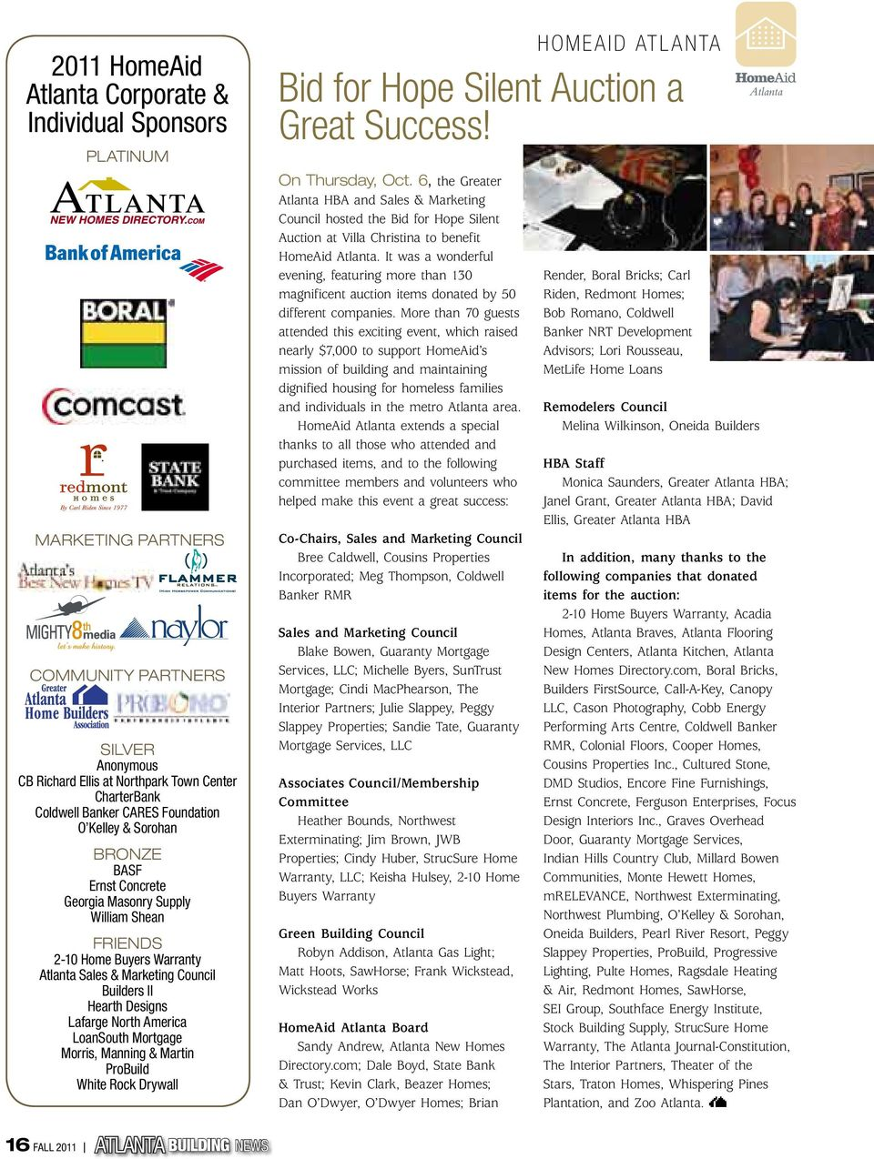 North America LoanSouth Mortgage Morris, Manning & Martin ProBuild White Rock Drywall homeaid atlanta Bid for Hope Silent Auction a Great Success! on thursday, oct.