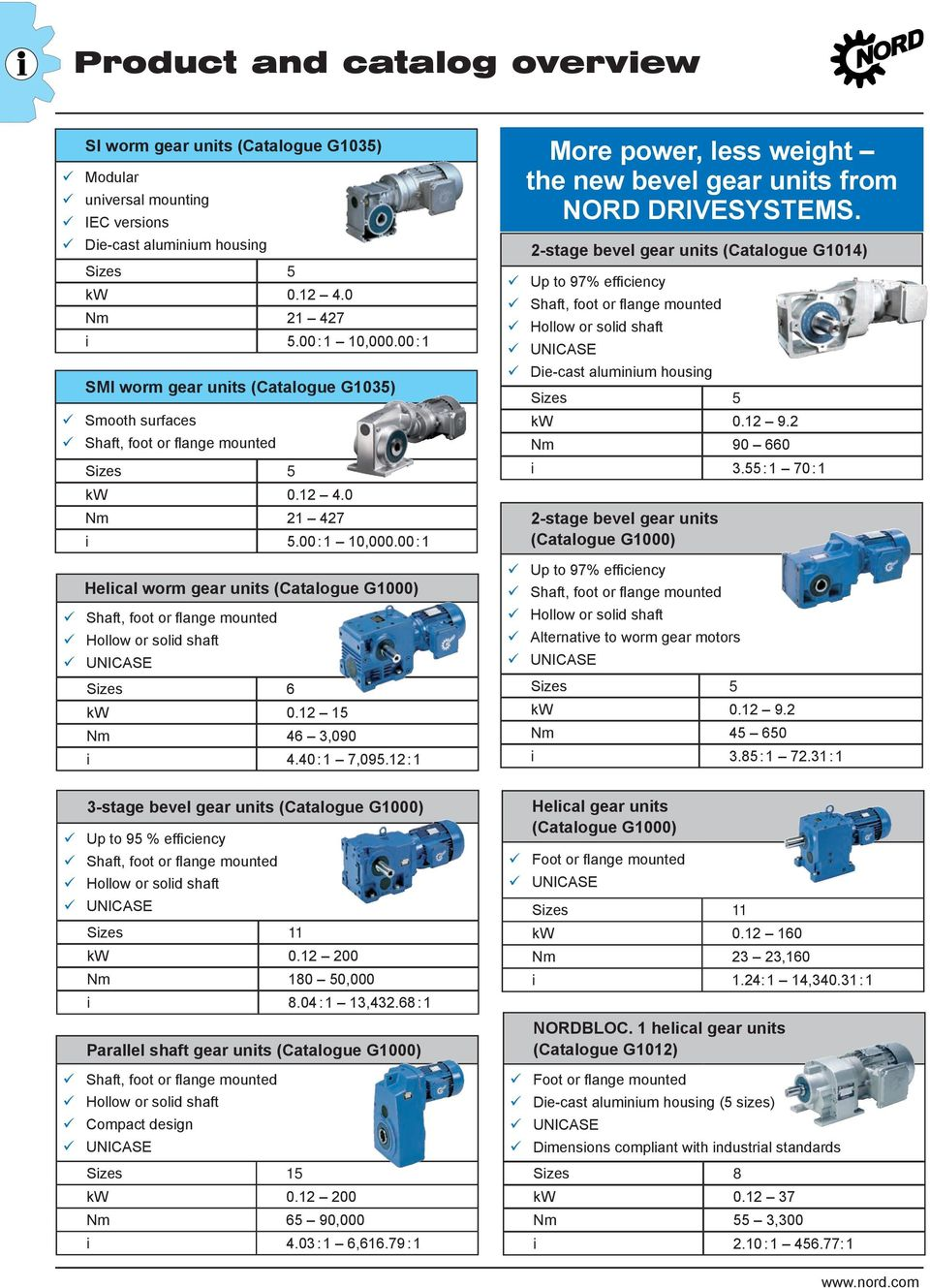 00:1 Helical worm gear units (Catalogue G1000) Shaft, foot or flange mounted Hollow or solid shaft UNICASE Sizes 6 kw 0.12 1 Nm 46 3,090 i 4.40 :1 7,09.
