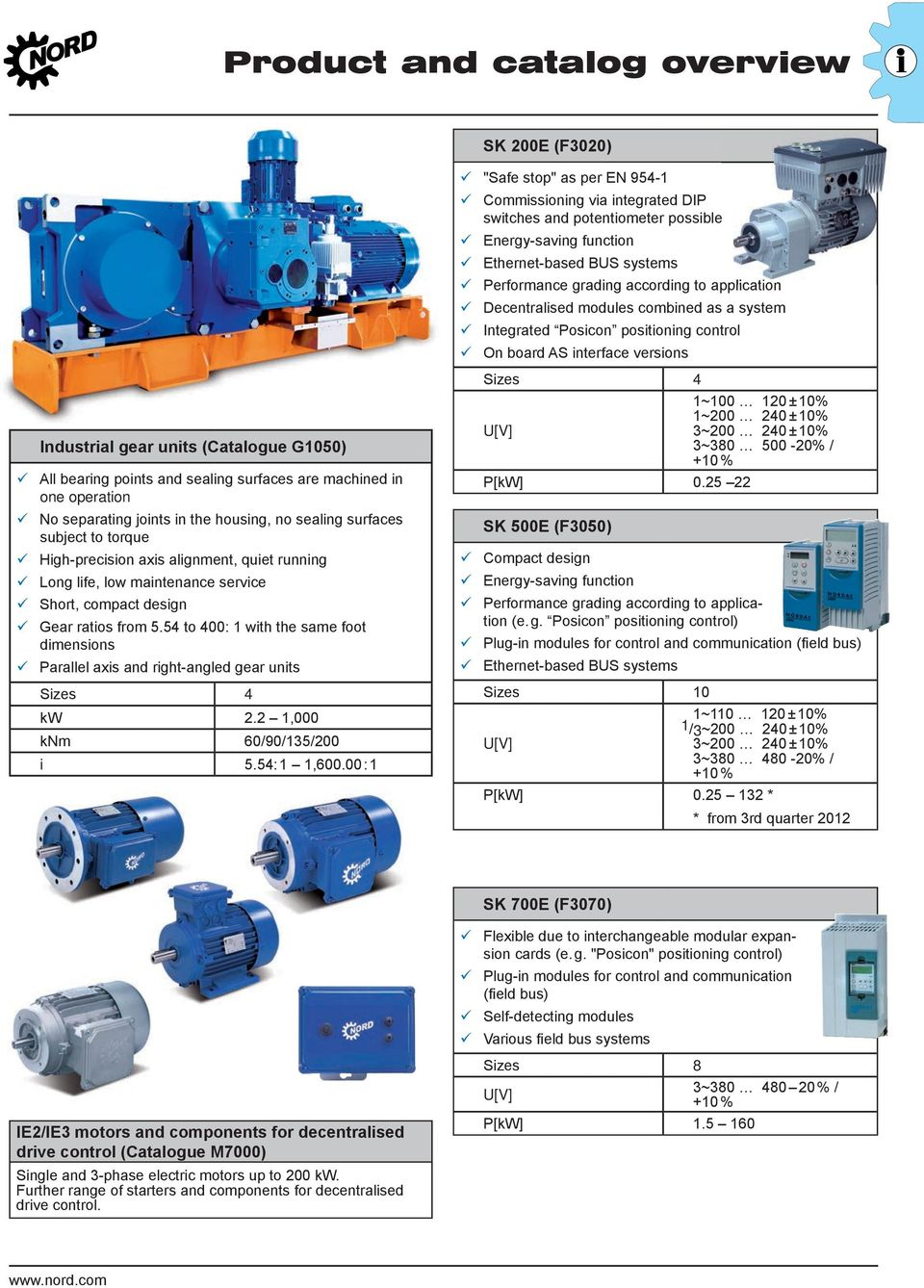 4 to 400: 1 with the same foot dimensions Parallel axis and right-angled gear units Sizes 4 kw 2.2 1,000 knm 60/90/13/200 i.4:1 1,600.