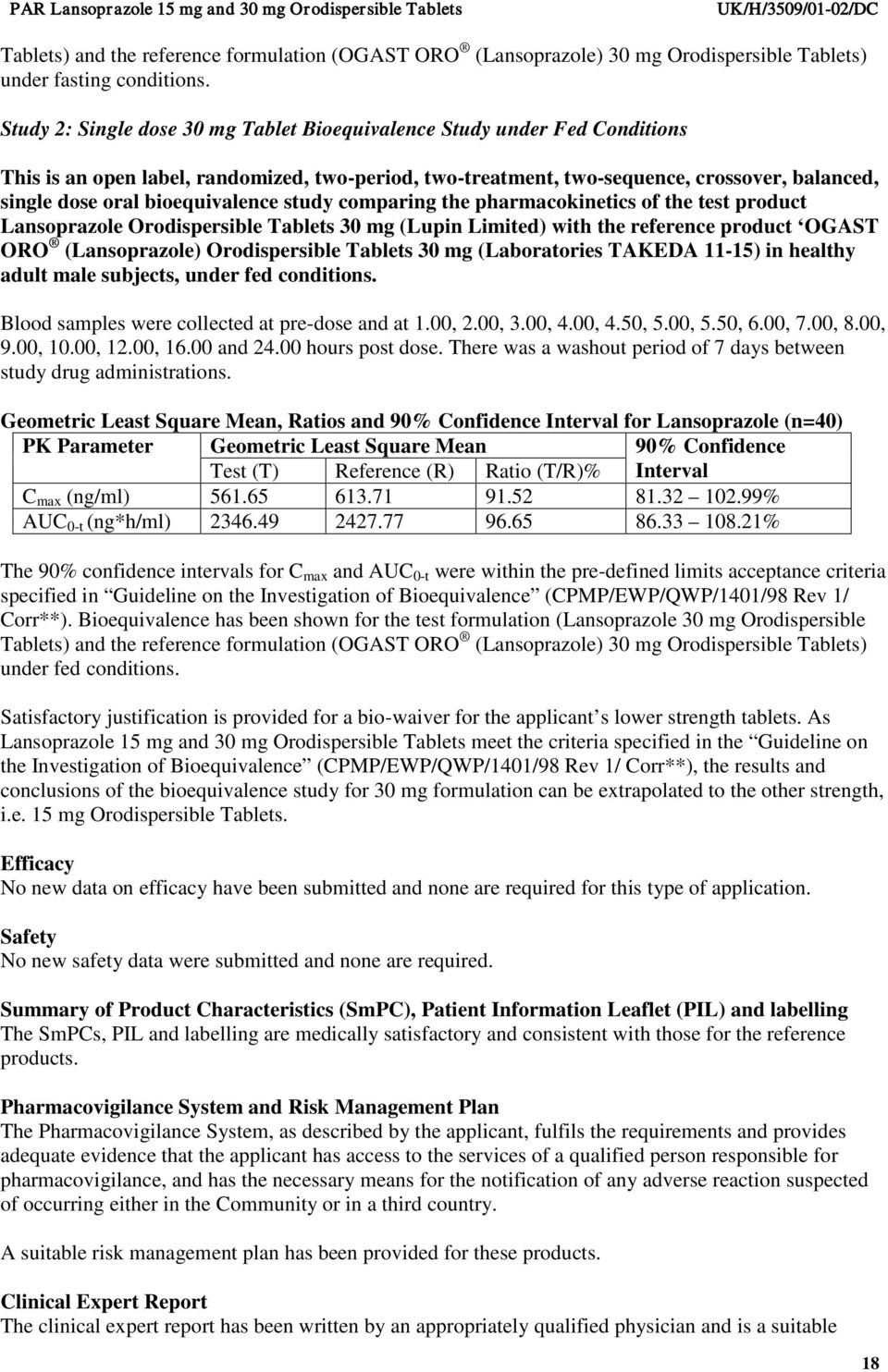 bioequivalence study comparing the pharmacokinetics of the test product Lansoprazole Orodispersible Tablets 30 mg (Lupin Limited) with the reference product OGAST ORO (Lansoprazole) Orodispersible